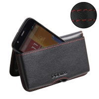 Moto G Leather Wallet Pouch Case (Red Stitch) PDair Premium Hadmade Genuine Leather Protective Case Sleeve Wallet