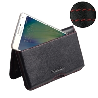 Leather Wallet Pouch for Samsung Galaxy A7 SM-A700 (Red Stitch)