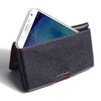 Leather Wallet Pouch for Samsung Galaxy J7 SM-J700F (Black Pebble Leather/Red Stitch)