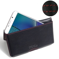 Leather Wallet Pouch for Samsung Galaxy Note 5 | Samsung Galaxy Note5 (Red Stitch)