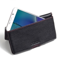 Leather Wallet Pouch for Samsung Galaxy Note 5 | Samsung Galaxy Note5 (Black Pebble Leather/Red Stitch)