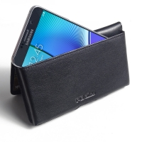 Leather Wallet Pouch for Samsung Galaxy Note 5 | Samsung Galaxy Note5 (Black Stitch)