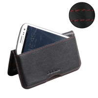 Leather Wallet Pouch for Samsung Galaxy S III S3 GT-i9300 (Red Stitch)