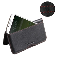 Leather Wallet Pouch for Samsung Galaxy S4 SIV LTE GT-i9500 GT-i9505 (Red Stitch)