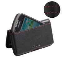 Leather Wallet Pouch for Samsung Galaxy Xcover 2 GT-S7710 (Red Stitch)