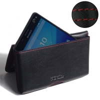 Sony Xperia C4 Leather Wallet Pouch Case (Red Stitch) PDair Premium Hadmade Genuine Leather Protective Case Sleeve Wallet