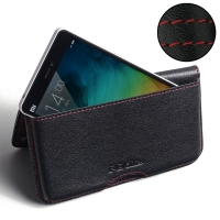 Leather Wallet Pouch for Xiaomi Mi 4i (Red Stitch)