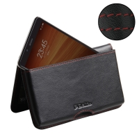 Leather Wallet Pouch for Xiaomi Redmi Note (Red Stitch)