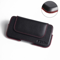 Luxury Leather Holster Pouch Case for Samsung Galaxy S6 (Red Stitch)