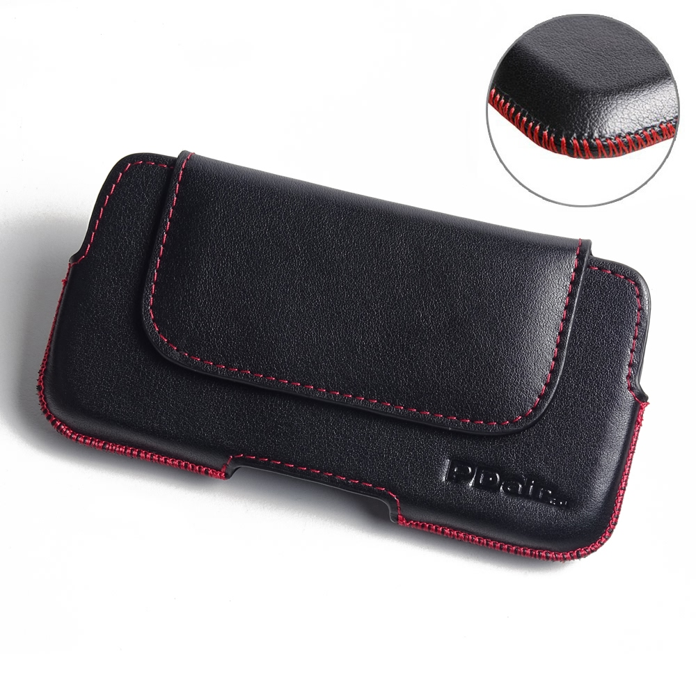 YOTAPHONE 2 Leather Holster Pouch Case (Red Stitch) PDair Premium Hadmade Genuine Leather Protective Case Sleeve Wallet