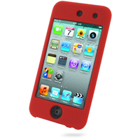 iPod Touch 4th Luxury Silicone Soft Case (Red) PDair Premium Hadmade Genuine Leather Protective Case Sleeve Wallet