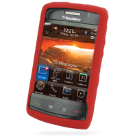 BlackBerry Storm 2 Luxury Silicone Soft Case (Red) PDair Premium Hadmade Genuine Leather Protective Case Sleeve Wallet