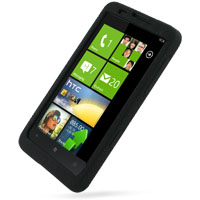 HTC HD7 T9292 Luxury Silicone Soft Case (Black) PDair Premium Hadmade Genuine Leather Protective Case Sleeve Wallet