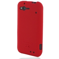 HTC Rhyme Luxury Silicone Soft Case (Red) PDair Premium Hadmade Genuine Leather Protective Case Sleeve Wallet