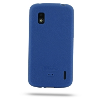 Nexus 4 Luxury Silicone Soft Case (Blue) PDair Premium Hadmade Genuine Leather Protective Case Sleeve Wallet