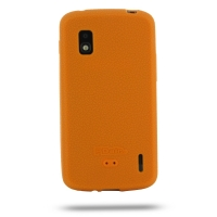 Nexus 4 Luxury Silicone Soft Case (Orange) PDair Premium Hadmade Genuine Leather Protective Case Sleeve Wallet