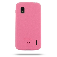 Nexus 4 Luxury Silicone Soft Case (Pink) PDair Premium Hadmade Genuine Leather Protective Case Sleeve Wallet