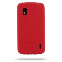 Nexus 4 Luxury Silicone Soft Case (Red) PDair Premium Hadmade Genuine Leather Protective Case Sleeve Wallet