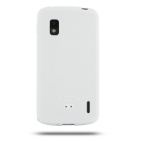 Nexus 4 Luxury Silicone Soft Case (White) PDair Premium Hadmade Genuine Leather Protective Case Sleeve Wallet