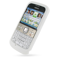 Nokia E5 Luxury Silicone Soft Case (White) PDair Premium Hadmade Genuine Leather Protective Case Sleeve Wallet