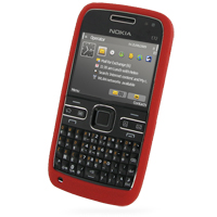 Nokia E72 Luxury Silicone Soft Case (Red) PDair Premium Hadmade Genuine Leather Protective Case Sleeve Wallet