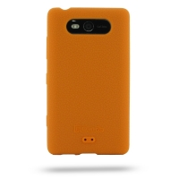 Nokia Lumia 820 Luxury Silicone Soft Case (Orange) PDair Premium Hadmade Genuine Leather Protective Case Sleeve Wallet