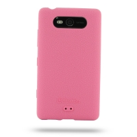 Nokia Lumia 820 Luxury Silicone Soft Case (Pink) PDair Premium Hadmade Genuine Leather Protective Case Sleeve Wallet