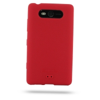 Nokia Lumia 820 Luxury Silicone Soft Case (Red) PDair Premium Hadmade Genuine Leather Protective Case Sleeve Wallet