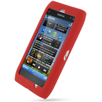 Nokia N8 Luxury Silicone Soft Case (Red) PDair Premium Hadmade Genuine Leather Protective Case Sleeve Wallet