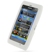 Nokia N8 Luxury Silicone Soft Case (White) PDair Premium Hadmade Genuine Leather Protective Case Sleeve Wallet