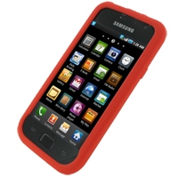 Samsung Galaxy S / Plus Luxury Silicone Soft Case (Red) PDair Premium Hadmade Genuine Leather Protective Case Sleeve Wallet