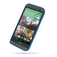 HTC One M8 Aluminum Metal Bumper Case (Blue) PDair Premium Hadmade Genuine Leather Protective Case Sleeve Wallet