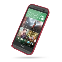 HTC One M8 Aluminum Metal Bumper Case (Red) PDair Premium Hadmade Genuine Leather Protective Case Sleeve Wallet