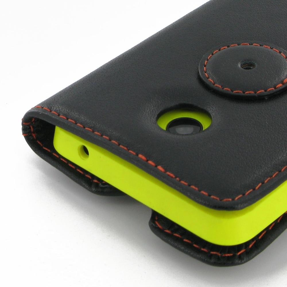 Nokia Lumia 630 635 Leather Flip Carry Cover (Orange