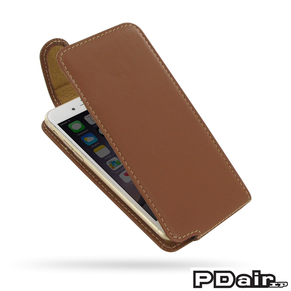 iphone 6 6s leather flip top carry case brown pdair. Black Bedroom Furniture Sets. Home Design Ideas