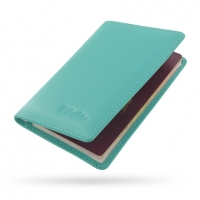 Protective Leather Passport Holder/Travel Wallet Case (Aqua)
