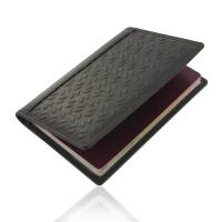 Protective Leather Passport Holder/Travel Wallet Case (Brown Metal Pattern)