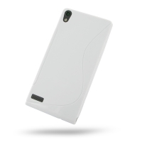 Huawei Ascend P6 Soft Case (White S Shape pattern) PDair Premium Hadmade Genuine Leather Protective Case Sleeve Wallet