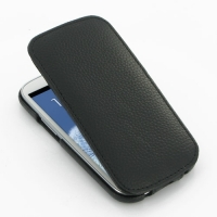 Slim Leather Flip Top Case for Samsung Galaxy S III S3 GT-i9300 (Black Pebble Leather/Black Stitch)