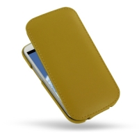 Slim Leather Flip Top Case for Samsung Galaxy S III S3 GT-i9300 (Golden Palm)