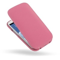 Slim Leather Flip Top Case for Samsung Galaxy S III S3 GT-i9300 (Petal Pink Pebble Leather)