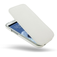 Slim Leather Flip Top Case for Samsung Galaxy S III S3 GT-i9300 (White Pebble Leather)