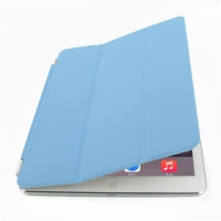 iPad Air 2 Smart Cover (Light Blue) PDair Premium Hadmade Genuine Leather Protective Case Sleeve Wallet