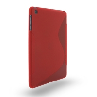 Soft Plastic Case for Apple iPad Mini (Red S Shape Pattern)