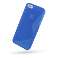 Soft Plastic Case for Apple iPhone 5 | iPhone 5s (Blue S Shape Pattern)