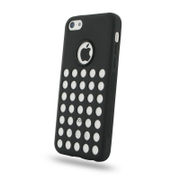 Soft Plastic Case for Apple iPhone 5c (Black Perforated Pattern)