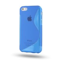 Soft Plastic Case for Apple iPhone 5c (Blue S Shape Pattern)