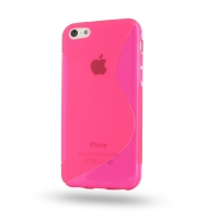 Soft Plastic Case for Apple iPhone 5c (Pink S Shape Pattern)