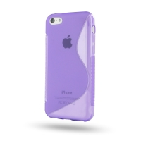 Soft Plastic Case for Apple iPhone 5c (Purple S Shape Pattern)