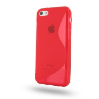 Soft Plastic Case for Apple iPhone 5c (Red S Shape Pattern)